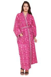 Pink Long Cotton Kimono Robe