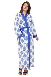 White with Blue Cotton Long Kimono Robe