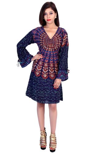 Rayon Mandala Blue Color Dress