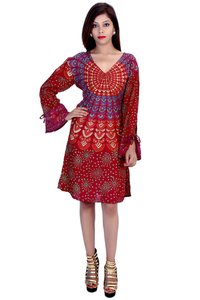 Rayon Mandala Maroon Color Dress