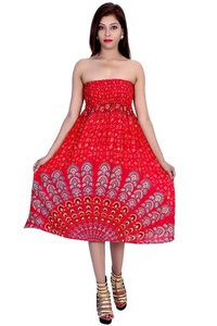 Rayon Mandala Red Color Dress
