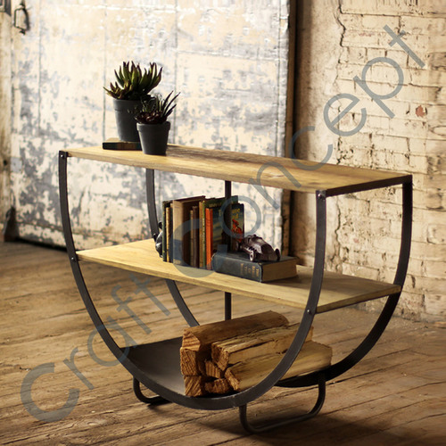 SEMI CIRCLE WOOD & METAL CONSOLE