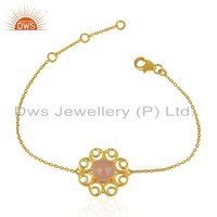 Rose Chalcedony Gemstone Designer Gold Plated Silver Bracelet Jewelry