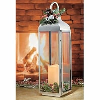 """27.5"""" Large Polished Stainless Steel Lantern with Flickering LED Candle"""