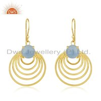 Blue Chalcedony Gold Plated Designer Earrings