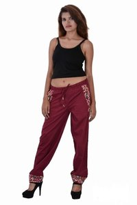 Cotton Solid Party Wear Maroon Color Harem Trouser