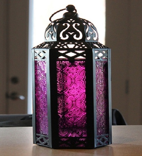 Vela Lanterns Mid-Size Table/Hanging Glass Hexagon Moroccan Candle Lantern Holders - Purple