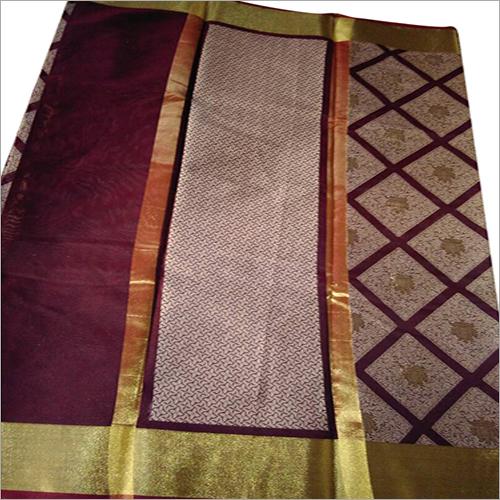 Desginer Tassar Silk Printed Banarasi Saree