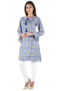 Cotton Cute Blue Colored Hand Block Kurti