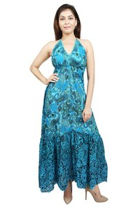 Cotton Printed Turquoise Color Dress