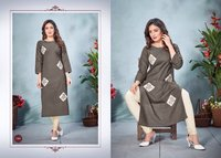 Cottan Slab Fancy Designer Kurti