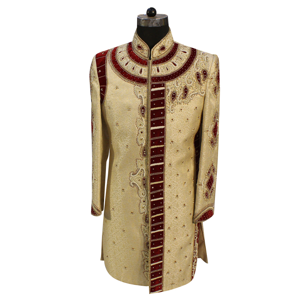 Mens Golden Color Wedding Sherwani