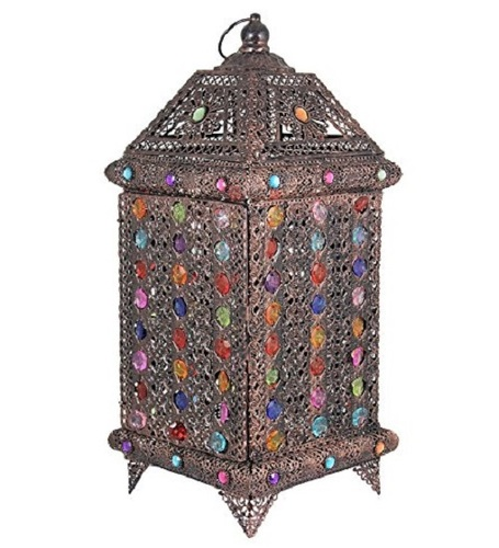 Essential Décor Entrada Collection 18.75 x 7.75 x 7.75 Inch Multi Colored Metal Lantern