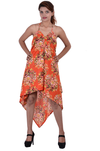 Cotton Printed Beachwear Orange Point Dress