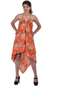 Cotton Printed Beachwear Orange Point Dress