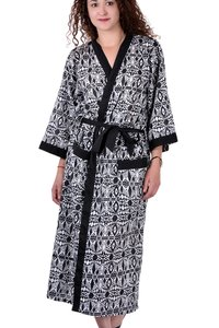 Cotton Printed Two Pockets Kimono Dress