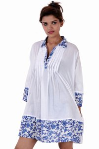 Cotton Solid Party Wear Women Dress White-Blue