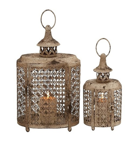 Benzara The Rustic Metal Candle Lantern, Set of 2