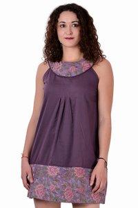 Cotton Solid Drak Purple Party Wear Dress