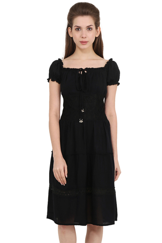 Rayon Crepe Solid Fit and Flare Black Dress