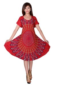 Womens Umbrella Dresses Mandala Red Dress