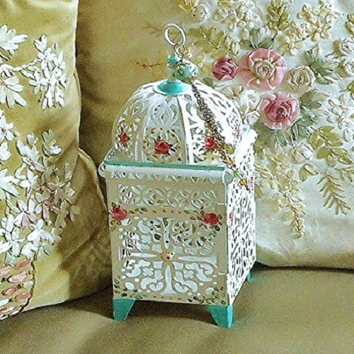 Decorative White Metal Filigree Candle Lantern Holder with Hand Painted Roses and Dangling Tassel