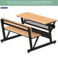 Tubular Steel Classroom Study Dual Desk DDP-0203