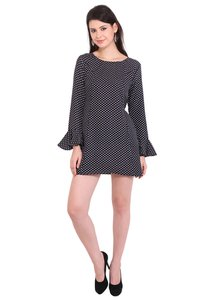 Poly Crepe Dot Print Women Full Sleeve Black Dress