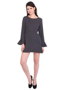 Poly Crepe Dot Print Women Full Sleeve Black Dress