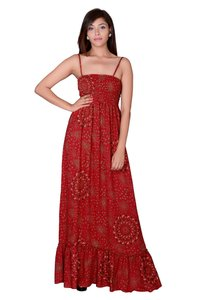 Women Rayon Red Partywear Maxi Dress