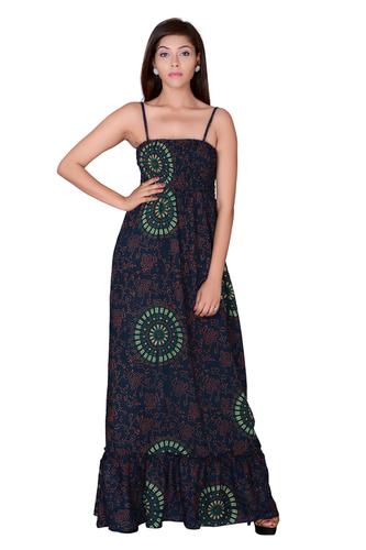 Rayon Mandala Long Green Maxi Dresses