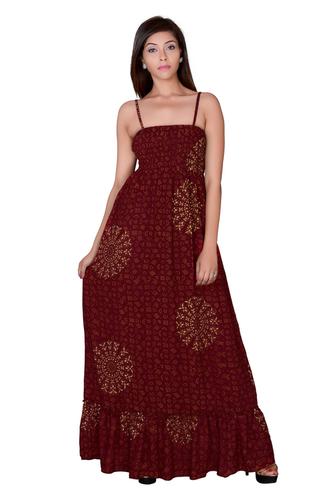 Women Rayon Maroon Maxi Partywear Dress