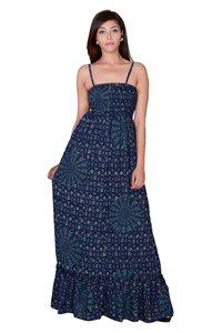 Women Rayon Blue Maxi Partywear Dress