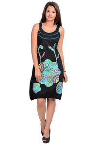 Hippie Bohemian Clothes Cotton Women A-line Black Dress