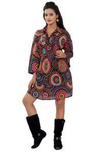 Cotton Womens A line Black Dresses
