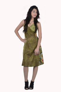 Cotton Women Party Fit Green Dress