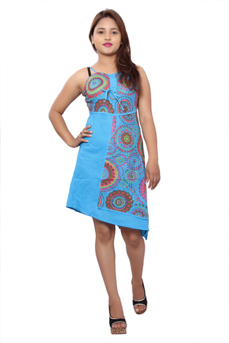 Cotton Women Sky-Blue Dress