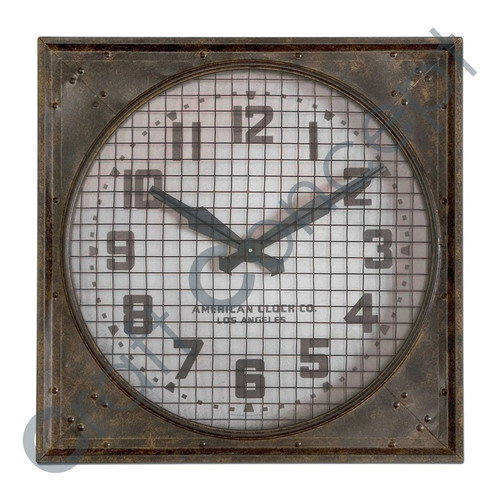 OLD LOOK SQUARE METAL CLOCK