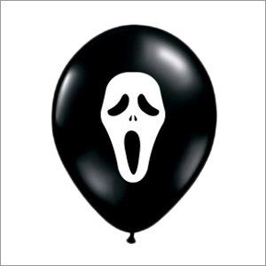 Face Printed Black Halloween Balloon