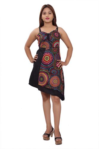 Cotton Women A line Black Dress