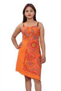 Cotton Women A line Orange Dress
