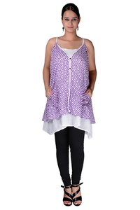 Cotton Women A line Printed Pockets Purple Dress