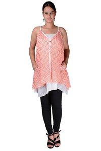 Cotton Women A line Printed Pockets Orange Dress