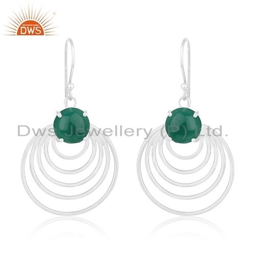 Wholesale Sterling Silver Green Onyx Gemstone Earrings Jewelry