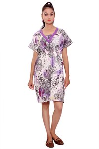 Cotton Women Fit and Flare Purple Dress