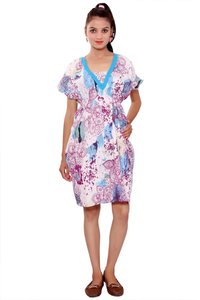 Cotton Women Fit and Flare Sky-Blue Dress