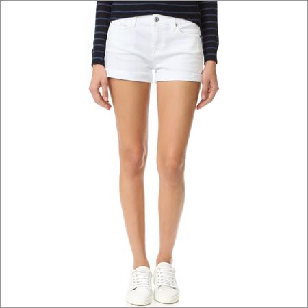 Ladies White Jean Short