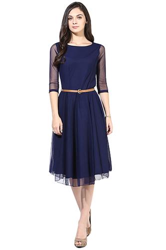 Net Women A-line Blue Dress