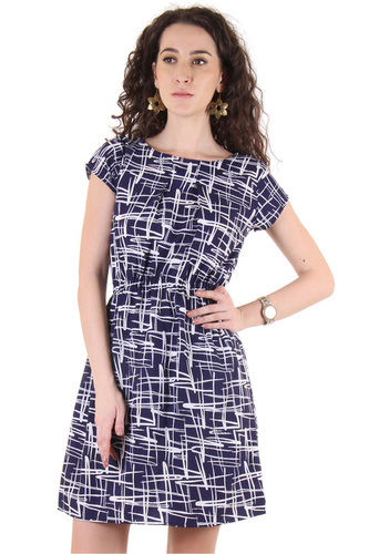 Poly Crepe Women Fit and Flare Blue Dress