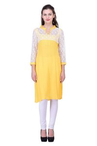 Floral Mesh Lace Dress Solid Yellow Color Party wear Kurti Casual Dress Jaipuri Kurti